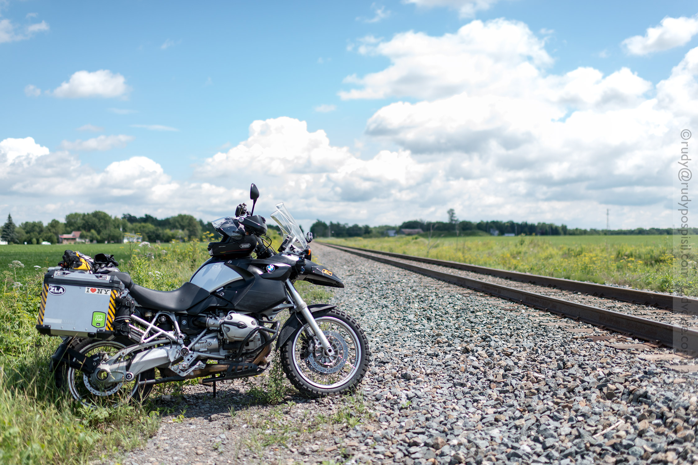 Riding along railroad tracks south of Montréal, Québec, Canada.