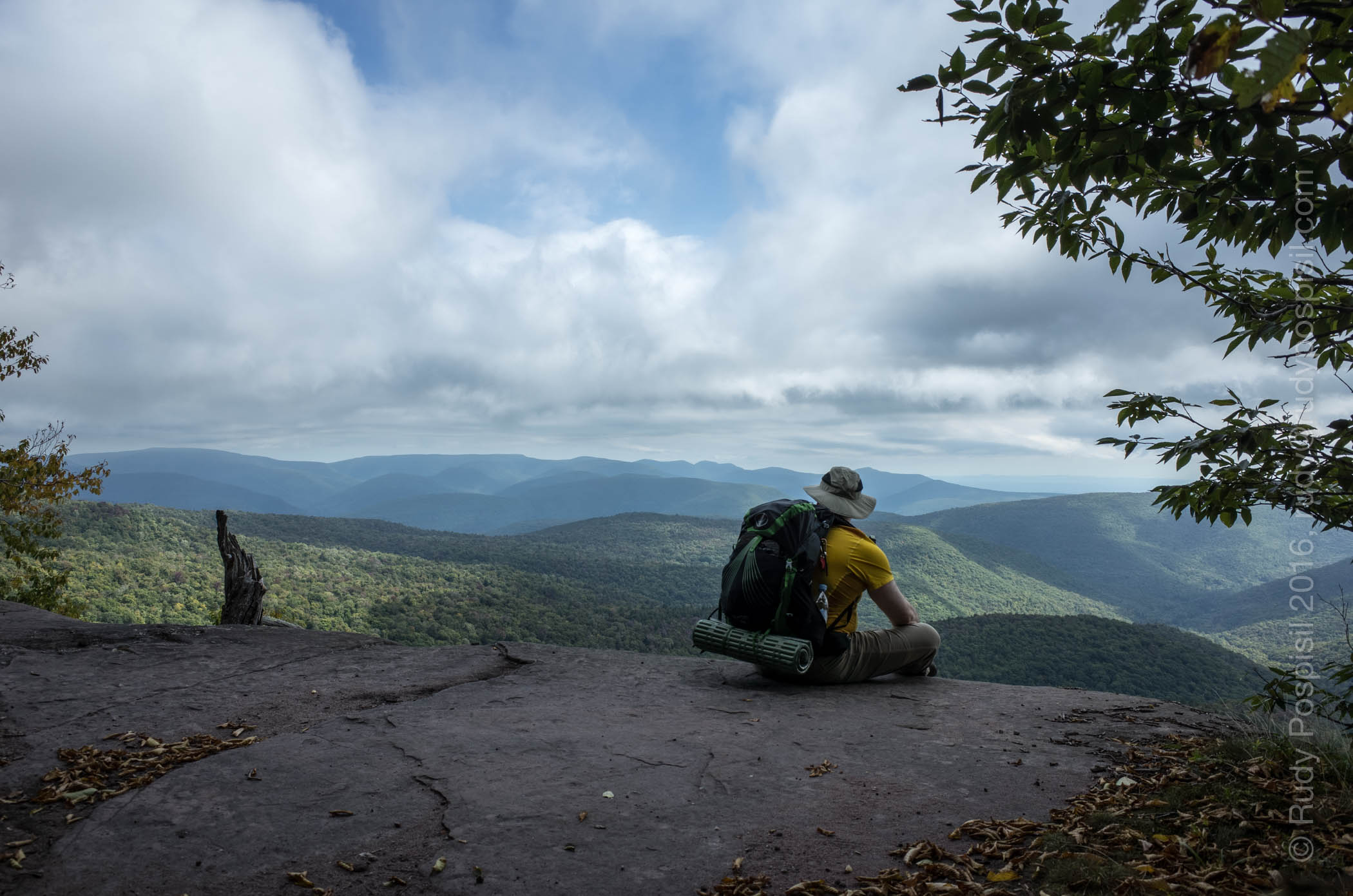 Sitting on the Giant Ledge on the way to the top of Panther Mountain in the Catskills.